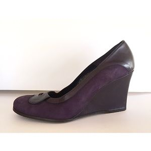 Donald Pliner purple leather & suede wedge loafer